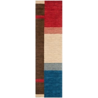 Safavieh Handmade Himalaya Beige/ Dark Brown Border Wool Runner Rug (2'3 x 10')
