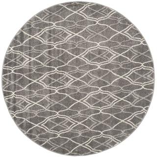 Safavieh Indoor/ Outdoor Amherst Grey/ Light Grey Rug (5' Round)