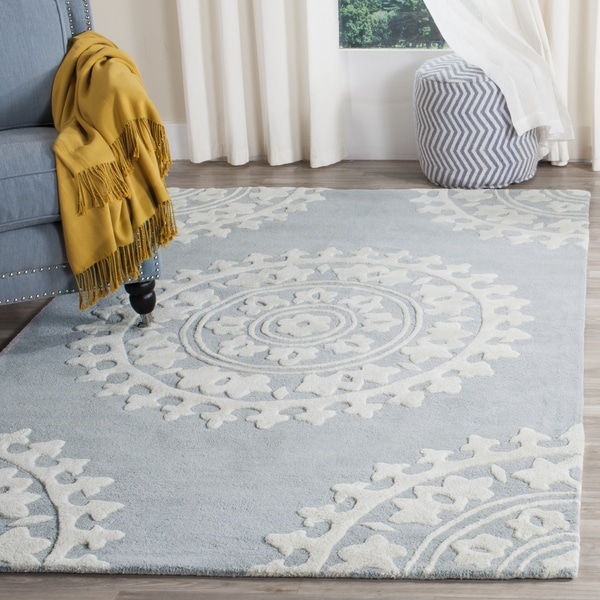 Safavieh Handmade Soho Light Grey/ Ivory New Zealand Wool Rug - 9' x 12'