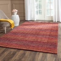 Safavieh Handmade Himalaya Red/ Multicolored Wool Stripe Area Rug - 8' X 10'