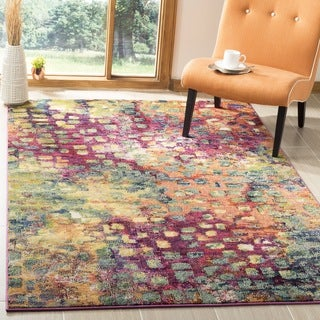 Safavieh Monaco Abstract Watercolor Pink/ Multi Distressed Rug (9' x 12')