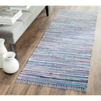Safavieh Hand-woven Rag Rug Purple/ Multi Cotton Rug - 2'3 x 9'
