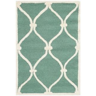 Safavieh Handmade Cambridge Teal/ Ivory Wool Rug (2'6 x 4')