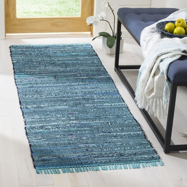 Safavieh Hand-woven Rag Rug Blue/ Multi Cotton Rug - 2'3 x 10'