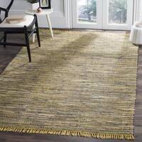 Safavieh Hand-woven Rag Rug Yellow/ Multi Cotton Rug - 4' Square
