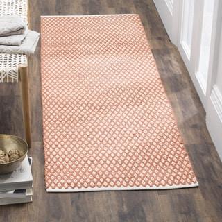 Safavieh Handmade Boston Orange Cotton Rug (2'3 x 11')