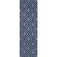 Safavieh Handmade Flatweave Dhurries Navy/ Ivory Wool Rug - 2'6 x 6'