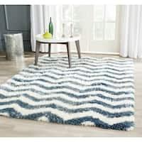 Safavieh Montreal Shag Ivory/ Blue Stripe Polyester Rug - 4' x 6'