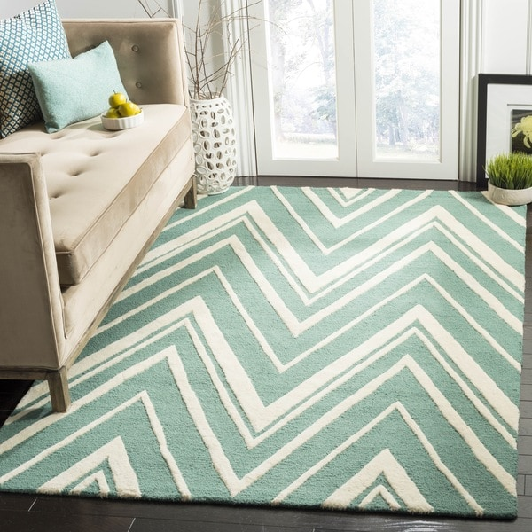 Safavieh Handmade Cambridge Teal/ Ivory Wool Rug - 9' x 12'