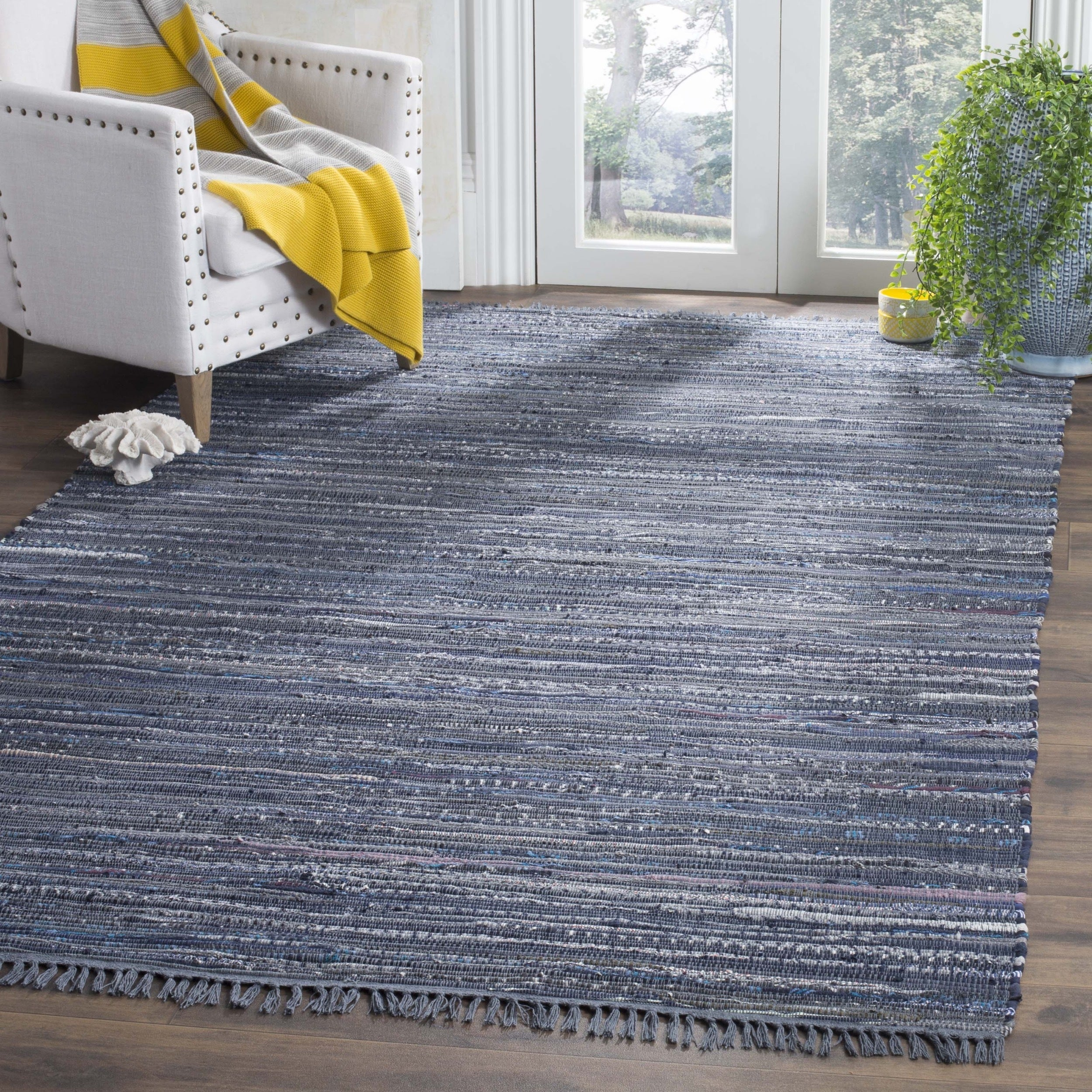 Safavieh Hand-woven Rag Rug Ink/ Multi Cotton Rug (4' Squ...