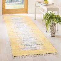 "Safavieh Montauk Hand-Woven Flatweave Ivory/ Yellow Border Cotton Tassel Area Rug - 2'3"" x 9'"