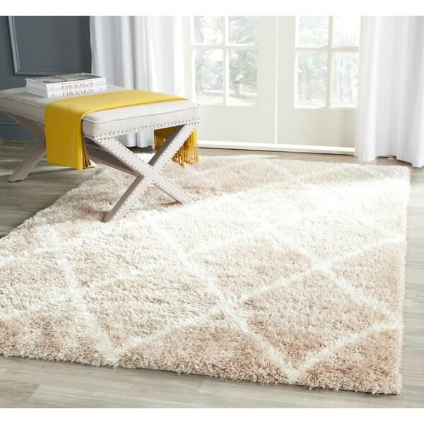 safavieh montreal diamond shag beige/ ivory shag rug (4' x 6