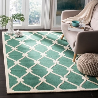 Safavieh Handmade Cambridge Teal/ Ivory Wool Rug (9' x 12')