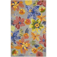 Safavieh Hand-Hooked Four Seasons Grey / Orange Polyester Rug - 5' x 7'