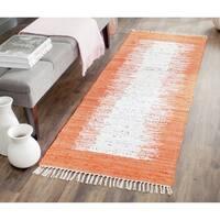 Safavieh Hand-woven Montauk Ivory/ Orange Cotton Rug - 2'3 x 9'
