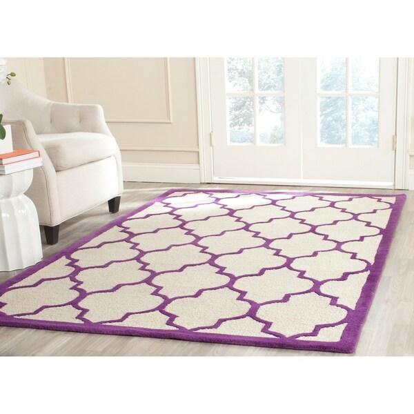 Safavieh Handmade Cambridge Ivory/ Purple Wool Rug - 9' x 12'