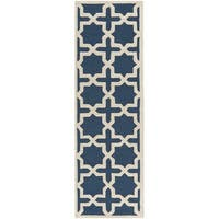 Safavieh Handmade Cambridge Navy Blue/ Ivory Wool Rug - 2'6 x 18'