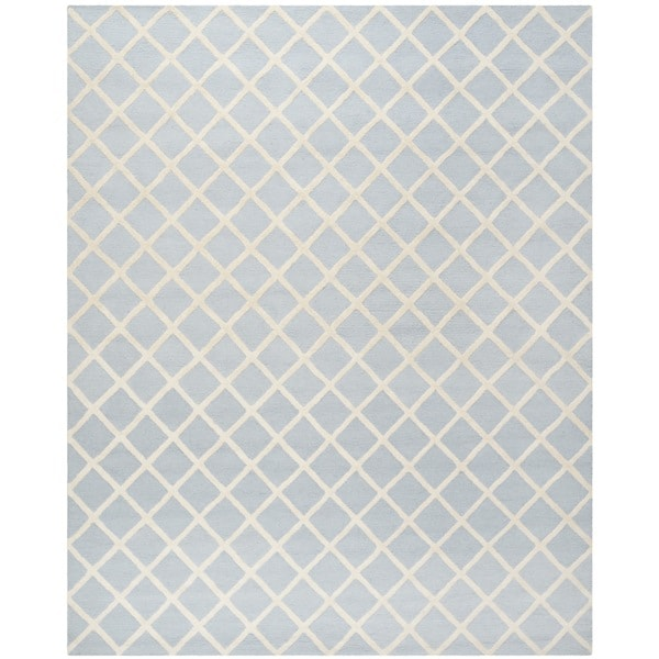 Safavieh Handmade Cambridge Light Blue/ Ivory Wool Rug - 9' x 12'