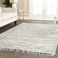 Safavieh Montauk Hand-Woven Flatweave Silver Cotton Area Rug - 4' x 4' Square