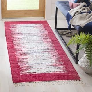 Safavieh Hand-woven Montauk Ivory/ Red Cotton Rug (2'3 x 9')