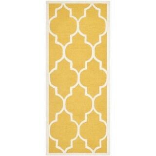Safavieh Handmade Cambridge Gold/ Ivory Wool Rug (2'6 x 18')