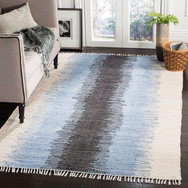 Safavieh Hand-woven Montauk Grey/ Black Cotton Rug - 9' x 12'