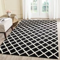 Safavieh Handmade Cambridge Black/ Ivory Wool Rug - 9' x 12'