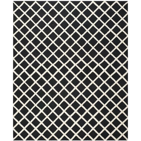 Safavieh Handmade Cambridge Black/ Ivory Wool Rug - 9' x 12'