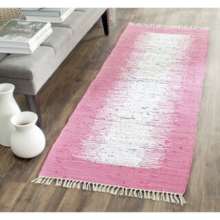 Safavieh Hand-woven Montauk Ivory/ Pink Cotton Rug (2'3 x 9')