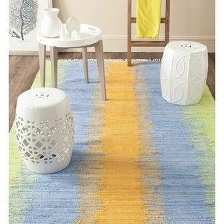 Safavieh Hand-woven Montauk Green/ Gold Cotton Rug (9' x 12')