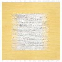 Safavieh Montauk Hand-Woven Flatweave Ivory/ Yellow Border Cotton Tassel Area Rug - 4' x 4' Square