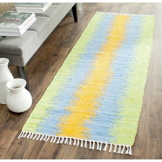 Safavieh Hand-woven Montauk Green/ Gold Cotton Rug (2'3 x 9')