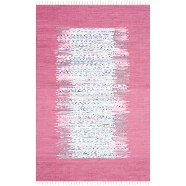 Safavieh Hand-woven Montauk Ivory/ Pink Cotton Rug - 9' x 12'