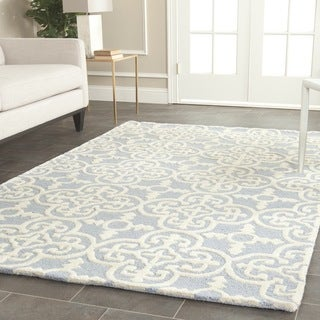 Safavieh Handmade Cambridge Light Blue/ Ivory Wool Rug (7'6 x 9'6)