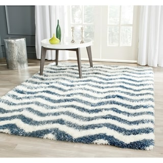 Safavieh Montreal Shag Ivory/ Blue / Polyester Rug (5'3 x 7'6)