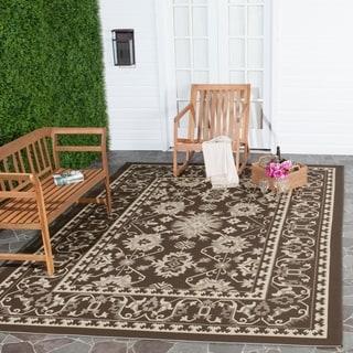 Safavieh Courtyard Charm Chocolate/ Cream Indoor/ Outdoor Rug (6'7 x 9'6)