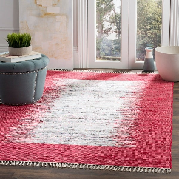 Safavieh Hand-woven Montauk Ivory/ Red Cotton Rug - 9' x 12'