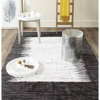 Safavieh Montauk Hand-Woven Flatweave Ivory/ Black Border Cotton Rug - 4' Square
