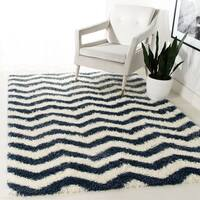 Safavieh Montreal Shag Ivory/ Grey Stripe Polyester Rug - 5'3 x 7'6