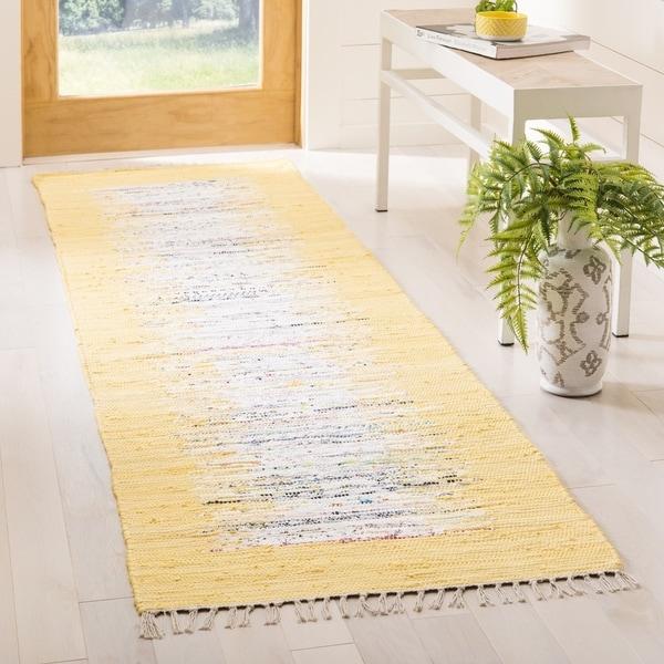 "Safavieh Montauk Hand-Woven Flatweave Ivory/ Yellow Border Cotton Tassel Area Rug - 2'3"" x 6'"