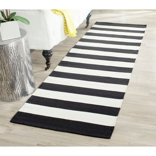 Safavieh Montauk Hand-Woven Flatweave Black/ Ivory Stripe Cotton Rug - 2'3 x 6'
