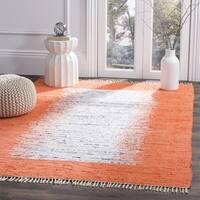 Safavieh Hand-woven Montauk Ivory/ Orange Cotton Rug - 4' Square