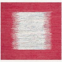 Safavieh Hand-woven Montauk Ivory/ Red Cotton Rug - 4' Square