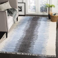 Safavieh Hand-woven Montauk Piper Grey / Black Cotton Tassel Rug - 4' x 4' Square