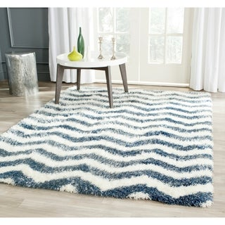 Safavieh Montreal Shag Ivory/ Blue / Polyester Rug (8' x 10')