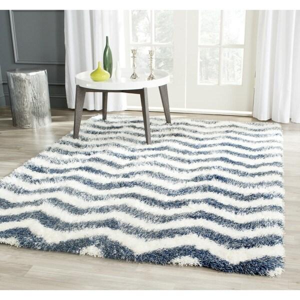 Safavieh Montreal Shag Ivory/ Blue Stripe Polyester Rug - 8' x 10'