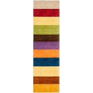 Safavieh Handmade Himalaya Yellow/ Multicolored Stripe Wool Gabbeh Rug (2'3 x 8')