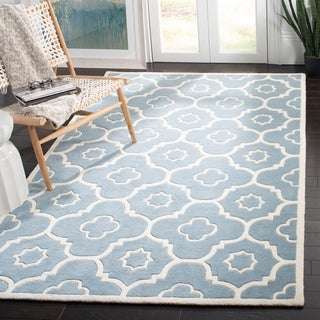 Safavieh Handmade Chatham Dark Grey/ Ivory Wool Rug (3' Square)