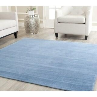 Safavieh Handmade Himalaya Solid Blue Wool Rug (4' Square)