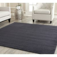 Safavieh Handmade Himalaya Solid Black Wool Rug - 4' Square